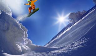 Snowboarder Jumping Mural