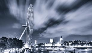 London Eye Black and White Mural