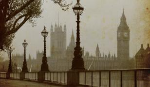 London in Fog Mural