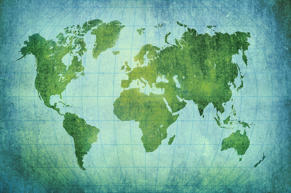 Customised Murals - Green and blue world map